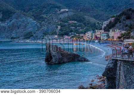 Monterosso Al Mare, Italy - July 8, 2017: View Of A Rock At Fegina Beach, Monterosso Al Mare, Cinque