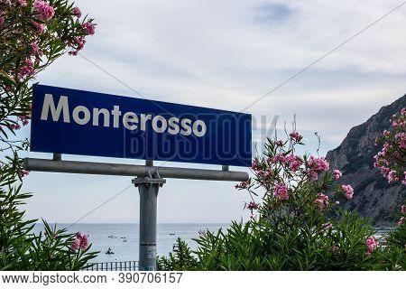 Monterosso Al Mare, Italy - July 8, 2017: View Of An Entrance Sign Of Monterosso Al Mare, Cinque Ter