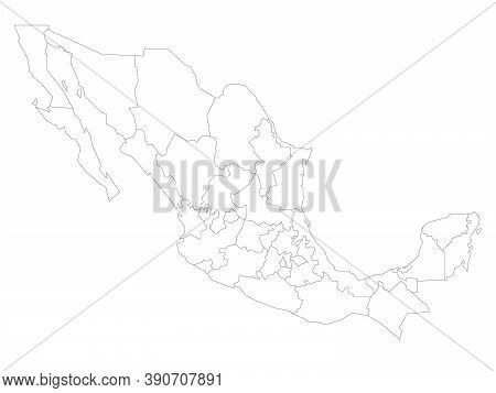 Blank Political Map Of Mexico. Administrative Divisions - States. Simple Black Outline Vector Map.