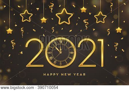 Happy New 2021 Year. Gold Metallic Numbers 2021 And Watch With Roman Numeral And Countdown Midnight,