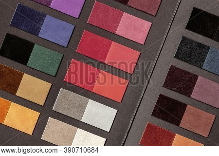 Colorful Leather Samples In Various Colors, Combination Of Colors, Production Of Leather Goods
