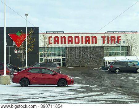 Calgary Alberta, Canada. Oct 17, 2020. Canadian Tire Store During Winter Time.