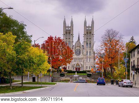Guelph, Ontario, Canada - 10.14.2020 Autumn Time. Christian Church. Basilica Of Our Lady - Guelph