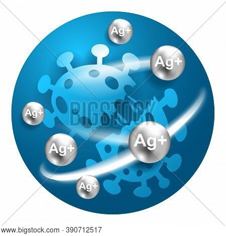 Silver Ions Ag Plus Acting Icon - Illustration Of Antibacterial Properties Of  Molecules - Argentum