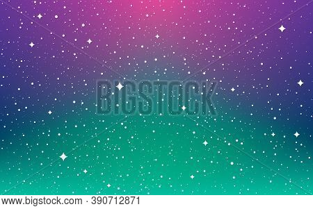 Space Background. Northern Lights Wallpaper. Color Universe With White Shining Stars. Magic Milky Wa