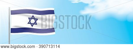 The Official Flag Of Israel Waving On A Blue Sky Background. Horizontal Vector Banner Design, With T
