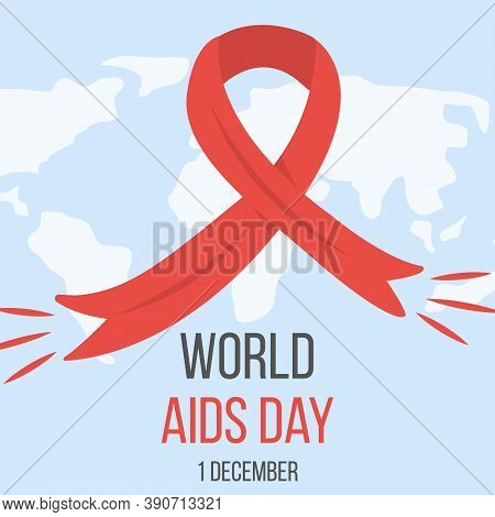 World Aids Day Banner With Red Ribbon On World Map On Background. Poster For National Hiv And Aids A