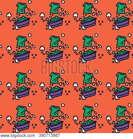 The Background For The Laundry Room In Doodle Style. Cartoon Pattern With Laundry Accessories For La