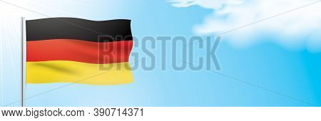 The Official Flag Of Germany Waving On A Blue Sky Background. Horizontal Vector Banner Design, With