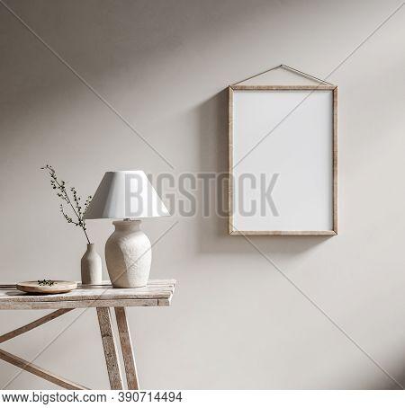 Mockup Poster Frame With Ethnic Decor Close Up In Loft Interior, 3d Illustration