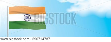 The Official Flag Of India Waving On A Blue Sky Background. Horizontal Vector Banner Design, With Th