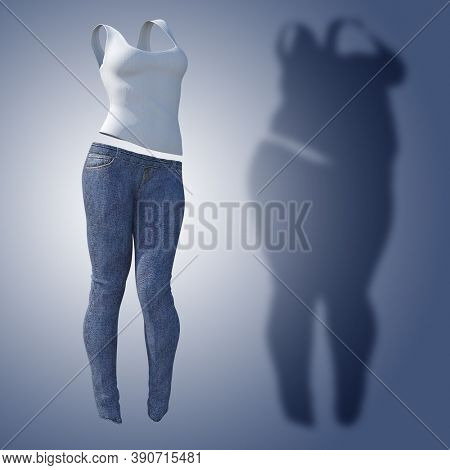Conceptual fat overweight obese shadow female jeans undershirt vs slim fit healthy body after weight loss or diet thin young woman on blue. Fitness, nutrition or obesity health shape 3D illustration