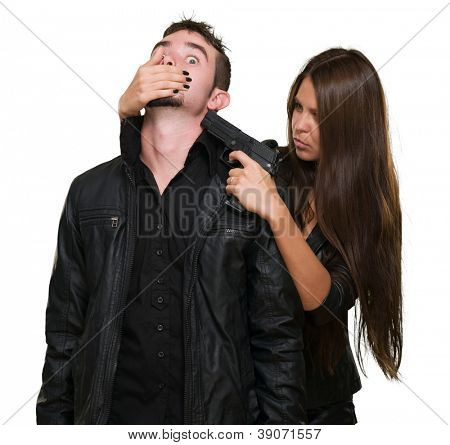 Criminal With A Gun Threatening Young Woman On White Background