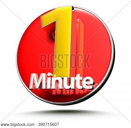 3D Illustration 1 Minute Isolated On A White Background.(with Clipping Path)