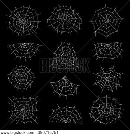 Spider Web And Net Vector Icons On Black Background, Halloween Horror Holiday. Cobwebs And Spiderweb