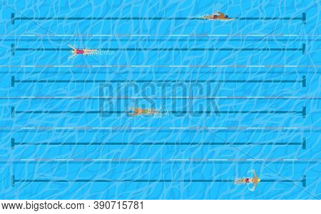 Pool With Swimmers On Lanes Top View, Vector Water Sport Design. Racing Pool With Swimming People, M