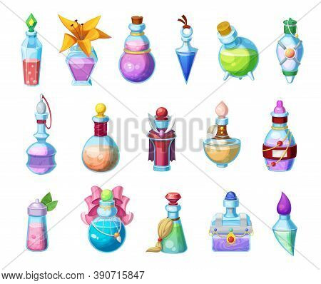 Potion Bottles Vector Icons, Magic Elixir In Glass Flasks, Cartoon Design Elements For Magic Gui Or
