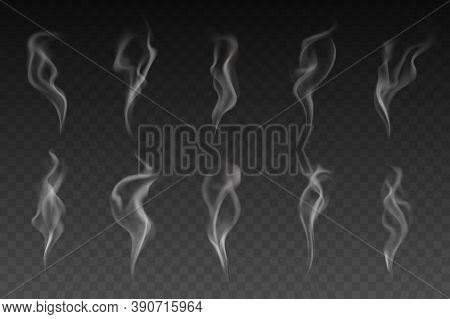 Smoke Or Steam Isolated Vector Set. White Smogs Of Cigarette, Vapor Waves Or Hot Food Or Drink On Tr