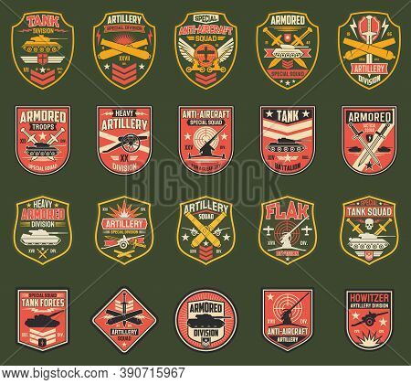 Usa Military Chevrons Vector Icons, Stripes For Tank Division, Artillery And Anti-aircraft Special S