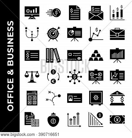 Office And Business Icon Set Include Monitoring, Cash, Document, Bill, Sales, Business, Presentation