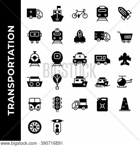 Transportation Icon Set Include Ambulance, Ship, Bicycle, Vehicle, Rocket, Bus, Vehicle, Truck, Cart