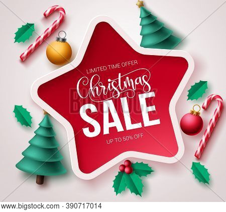 Christmas Sale Vector Template Banner. Christmas Sale Text In Star Frame Design With Xmas Elements L