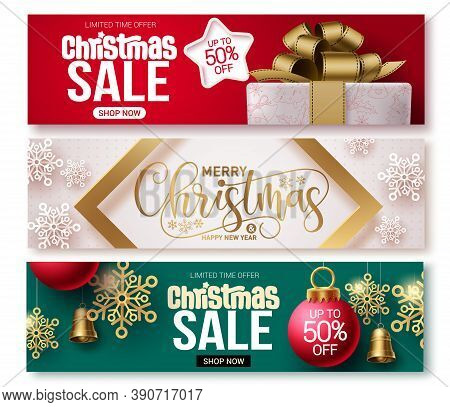 Christmas Sale Vector Banner Set. Christmas Sale Banner Collection Design For Holiday Season Promoti