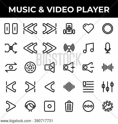 Music & Video Player Icon Set Include Pause, Track, Music, Skip, Ahead, Skip Ahead, Back, Skip Back,