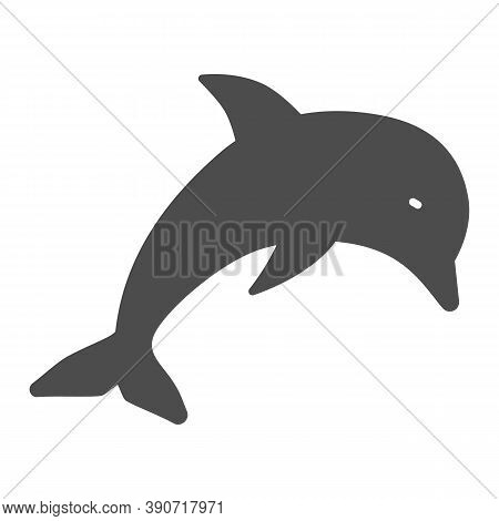 Dolphin Solid Icon, Marine Life Concept, Underwater World Sign On White Background, Jumping Dolphin