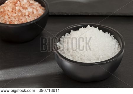 Salt - Crystals Of Sea Salt And Pink Salt Of Natural Origin.