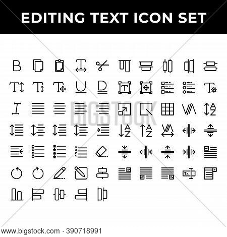 Editing Text Icon Set Include Text Bold,document,paste,spacing,increase,redo,align,compose,distribut