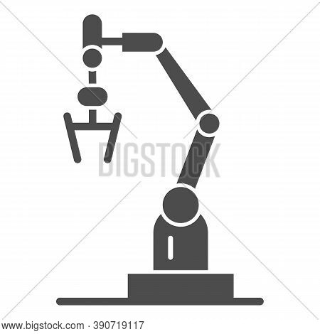 Robot Machine Solid Icon, Robotization Concept, Robotic Hand Manipulator Sign On White Background, I