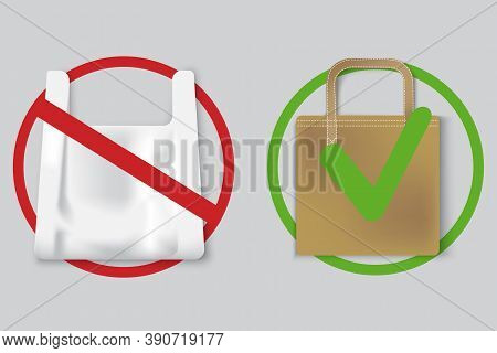 Ban On Plastic Bags. Nature Pollution Poster. Plastic And Eco Bags. Refusal From Inorganic Materials