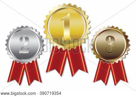 Vector Illustration Of Gold Silver Bronze Medals. First, Second And Third Place Awards. Prizes With