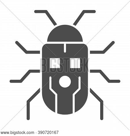 Robot Beetle Solid Icon, Robotization Concept, Robot Bug Sign On White Background, Robotic Beetle Ic