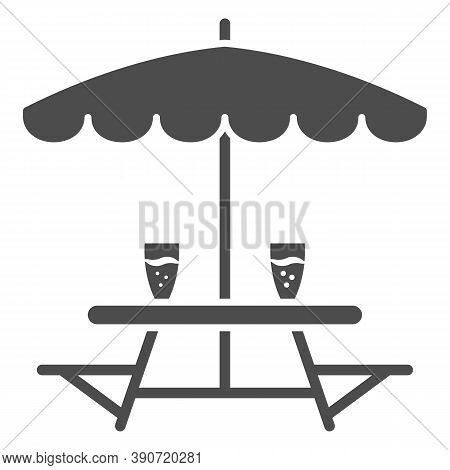Outdoor Table With Benches Solid Icon, Oktoberfest Concept, Outdoor Camping Furniture With Umbrella