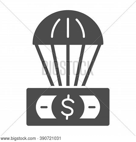 Dollar And Air Balloon Solid Icon, Finance Concept, Unsecured Currency In Air Sign On White Backgrou
