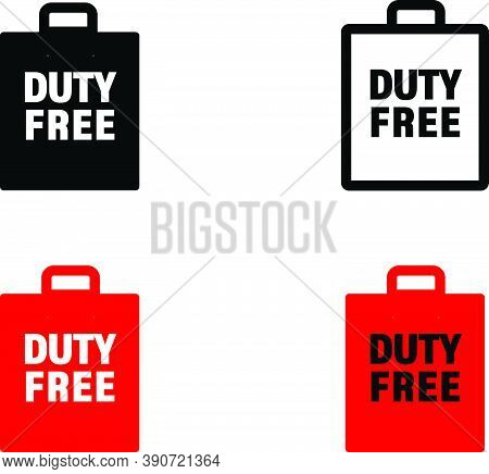 Duty Free Paper Bag Icon. Airport Duty Free Paper Bag Vector Icon For Web Design, Online Shopping, S