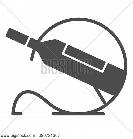 Bottle Of Wine On Stand Solid Icon, Wine Festival Concept, Single Bottle Wine Rack Sign On White Bac
