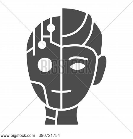 Robot Man Solid Icon, Robotization Concept, Neuro Interface Sign On White Background, Digital Bionic