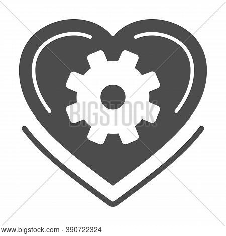 Mechanical Heart Solid Icon, Robotization Concept, Love Mechanism Sign On White Background, Heart Wi