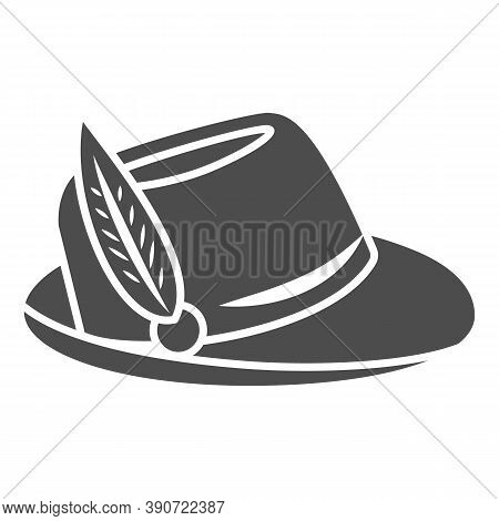 Hat With Feather Solid Icon, Oktoberfest Concept, Oktoberfest Hat Sign On White Background, German H
