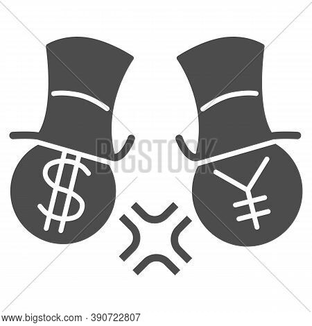 Dollar And Yen Conflict Solid Icon, Economic Sanctions Concept, Competition Currency In Hats Sign On