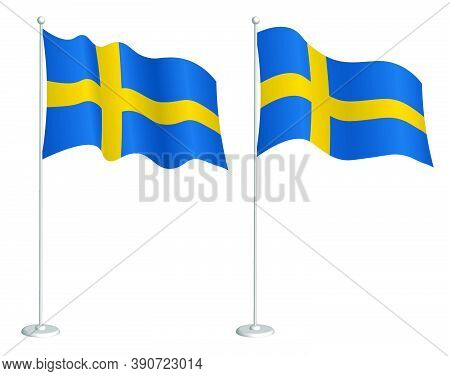 Sweden Flag On Flagpole Waving In The Wind. Holiday Design Element. Checkpoint For Map Symbols. Isol