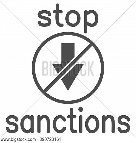 Stop Sanctions Sign Solid Icon, Economic Sanctions Concept, Warning Sign With Crossed Arrow Down On