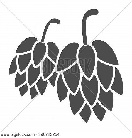 Hops Solid Icon, Oktoberfest Concept, Hop Beer Sign On White Background, Hop Cones Icon In Glyph Sty