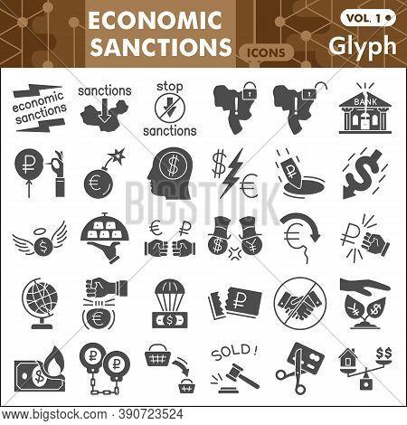 Economic Sanctions Solid Icon Set, Business War Symbols Collection Or Sketches. Finance Sanctions Gl