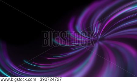 Abstract Neon Lines Twisted Into A Spiral. Dof Effect. A Beautiful Trending Background For Your Pres