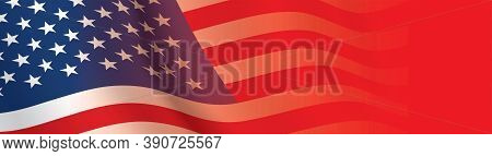 Banner Flag Of Usa. The United States Of America Waving Flag Wide Horizontal Background. Patriotic V