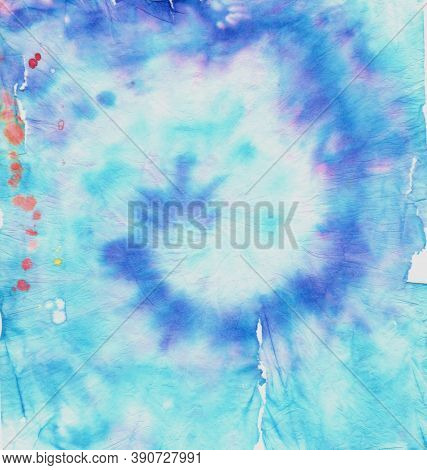 Colorful Tie Dye. Hippie Texture With Psychedelic Circular. Color Painting. Tye Dye Swirl Design. Ab